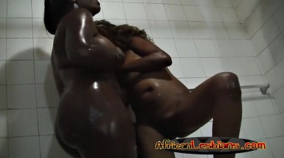 African, Together, Lesbian shower, African milf