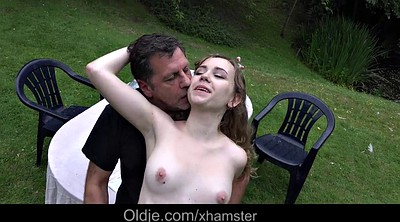 Seduced, Granny outdoor, Girl cum, Cum mouth