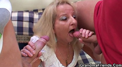 Grandma, Sucking, Old grandma, Old dick, Granny threesome