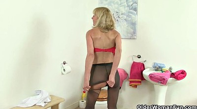 Solo granny, Solo mature, Mature sex, Mature solo, Stockings masturbation, Big tits heels