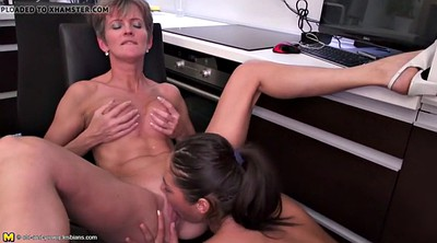 Lesbian mom, Old and young, Kitchen, Mature lesbians, Mom and daughter, Kitchen mom