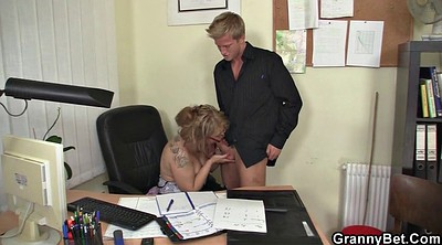 Old, White stockings, Officer, Granny seduce, Stockings office, Mature stockings