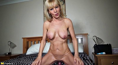 Old granny, Sexy lingerie, Red milf
