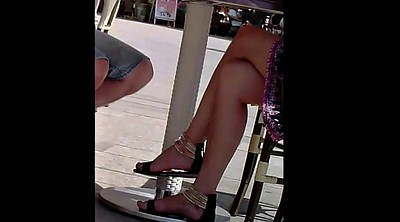 Feet, Candid, Leggings, Sexy leg, Sandals, Cafe