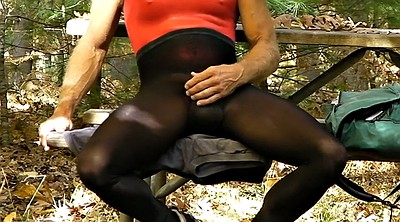 Crossdresser, Tights, Public cumshot, Crossdressing, Public solo
