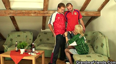 Granny threesome, Threesome stocking, Stocking mature, Old and young threesome