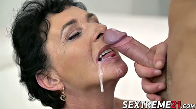 Licking granny, Jizzed, Face licking