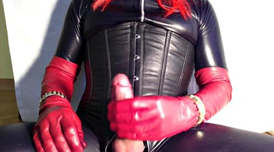 Latex, Leather, Crossdressers, Gloves, Shemale cum, Amateur shemale