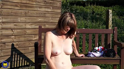 British milf, Feeding, Outdoor pussy, Granny outdoor, British granny