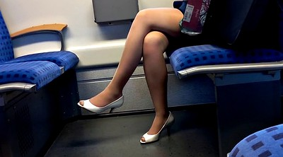 Nylon, Heels, Peep, Train, Peeping, Nylon foot