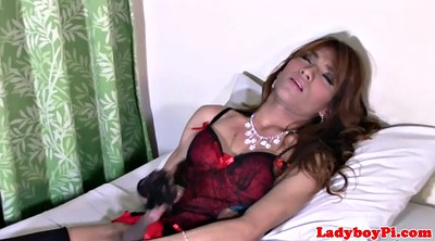 Asian ladyboy, Asian solo, Asian shemale, Gloves, Glove, Asian shemale solo