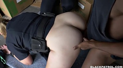 Police, Face fucking, Ebony threesome