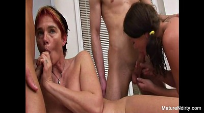 Mature blowjob, Service, Granny group, Mature foursome