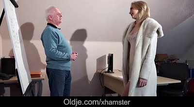 Granny casting, Blonde, Anal granny