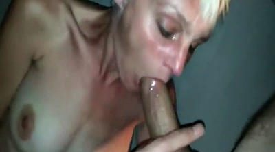Sloppy blowjob, Skinny mature