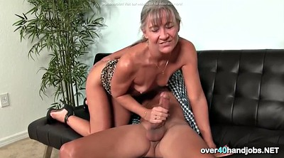 Mature handjob, Small tit mature