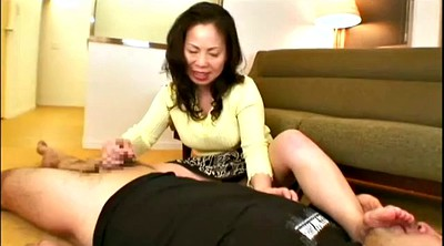 Asian foot, Mature handjob, Asian mature