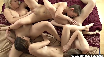 Face sitting, Pussy licking, Lesbian orgy, Sitting, Four girls, Close up pussy