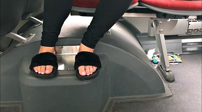 Bus, Feet, In bus, Candid feet, Slippers