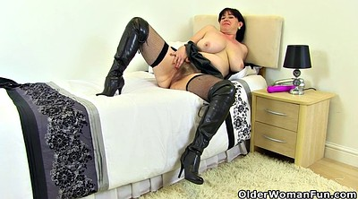Hairy, Boots, Mature dildo, Leather boots
