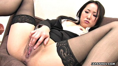 Stocking, Japanese solo, Office solo, Japanese orgasm, Japanese office, Hairy solo
