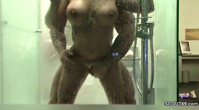 Amateur couple, Hidden shower, German hidden