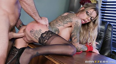 Office, High heels, Tattoo, Office fuck, Stockings heels, Desk