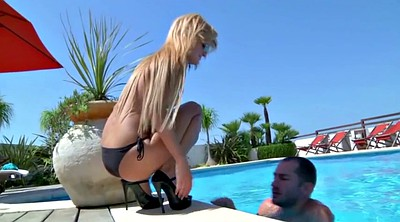 Pool, Ass licking, Femdom mistress, Mistress slave, Slave licking
