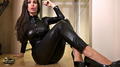 Leather, Suit, Latex milf, Feet tease
