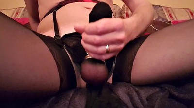 Crossdressers, Nylon stockings, Nylon handjob, Stockings masturbation