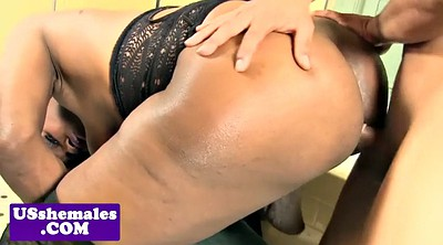 Ebony, Shemale masturbation
