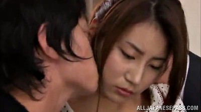 Asian threesome, Missionary creampie, Lick
