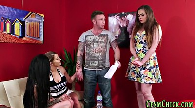 Foursome, Humiliation, Mistress handjob, Humiliating
