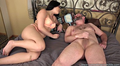 Wife watching, Cum eating cuckold