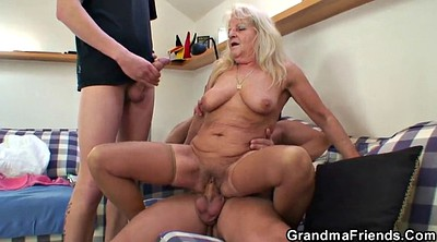 Threesome party, Mature blonde, Old young threesome