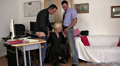 Old, Job, Interview, Threesome casting, Old lady, Job interview