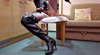 Leather, Latex anal, Boots, Leather boots