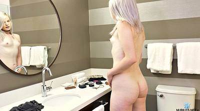 Flat, Small tits solo, Flat chested, Bathroom solo