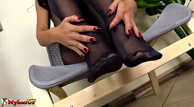 Footjob, Pantyhose footjob, Mistress footjob, Mistress foot, Black feet, Pantyhose feet fetish