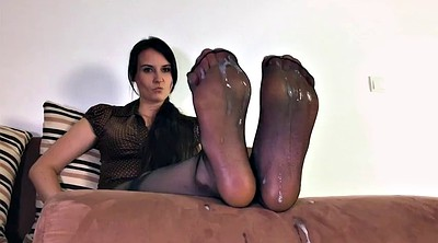 Nylon foot, Nylon feet, Step mother, Cum on feet