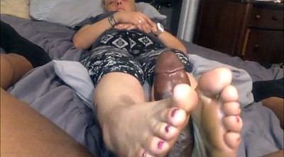 Footjob, Old mature, Mature feet