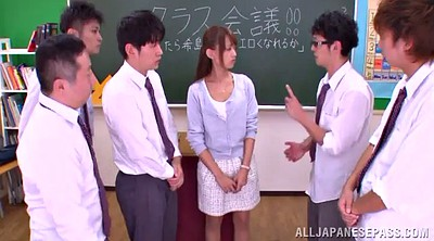 Asian teacher, Asian gangbang, Busty teacher, Busty gangbang, Teacher handjob, Busty blowjob
