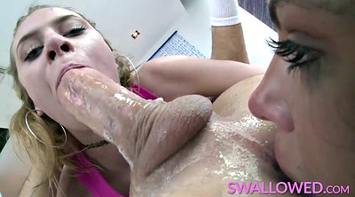 Blond swallow, Adriana, White fat, Deep throat swallowing