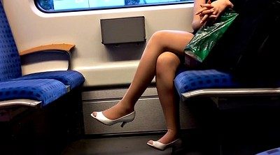 Nylon foot, Train, Peep, Milf foot, Milf nylon