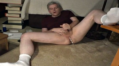 Handsome, Uncle, Feet masturbation, White socks, Gay socks, Socking