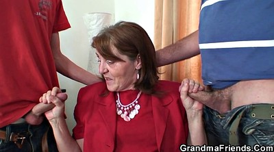 Granny, Old young threesome, Mature stockings