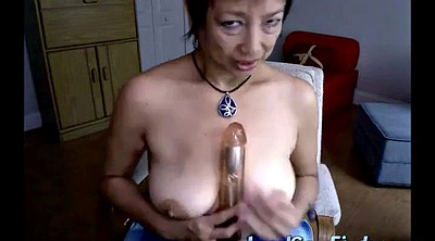 Asian granny, Mature dildo