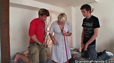 Old woman, Mature wife, Wife threesome, Cleaning, Old mature
