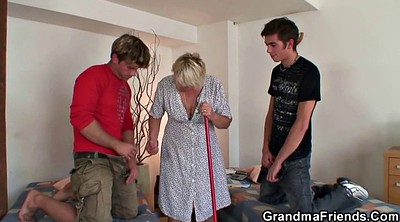 Young boy, Granny and boy, Mature and young boy