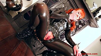 Big pussy, Latex catsuit, Red milf, Wet pussy, Latex milf